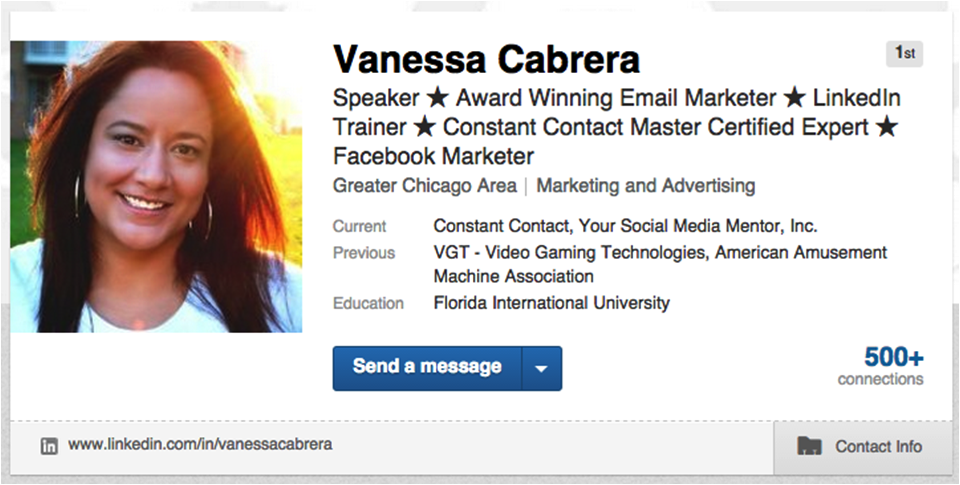 Vanessa Cabrera LinkedIn Headline